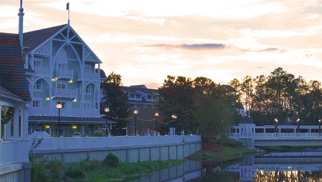 Disney DVC Beach Club Villas resort at dusk